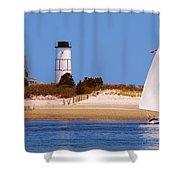 Sailing Around Sandy Neck Lighthouse Shower Curtain