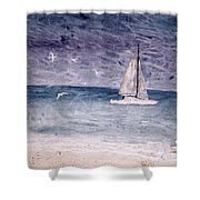 Sailing At Night Nautical Painting Print Shower Curtain