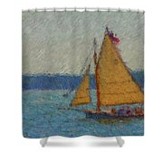 Sailing At Spruce Point Boothbay Harbor Maine Shower Curtain