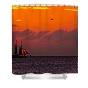 Sailing Boat At Sunset Shower Curtain