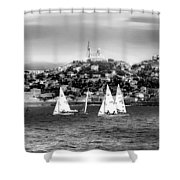 Sailing Boat  Black-and-white Shower Curtain