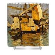 Sailing Boat On The Canale Della Giudecca Shower Curtain