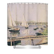 Sailing Boats At Argenteuil Shower Curtain