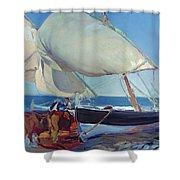 Sailing Boats Shower Curtain by Joaquin Sorolla y Bastida