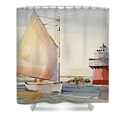 Sailing By Buglight  Shower Curtain