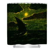 Sailing By Moonlight Shower Curtain
