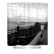 Sailing By The Old Pier Shower Curtain