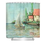 Sailing Day After Monet Shower Curtain