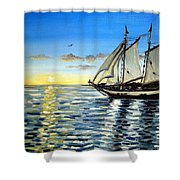Sailing Day Sunset Shower Curtain