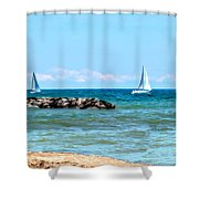Sailing Days On Lake Erie Panorama Shower Curtain by Randy Steele