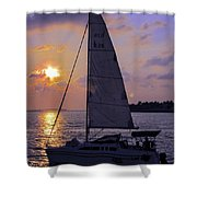 Sailing Home Sunset In Key West Shower Curtain