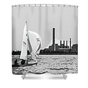 Sailing In Black And White Shower Curtain