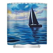 Sailing In Cerulean Blue Shower Curtain