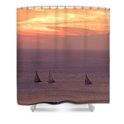 Sailing In The Golden Glow Shower Curtain