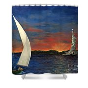 Sailing Liberty Shower Curtain