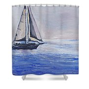 Sailing Off Cape May Point Shower Curtain