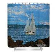 Sailing On A Summer Day Shower Curtain