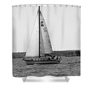 Sailing On Lake Murray S C Black And White Shower Curtain