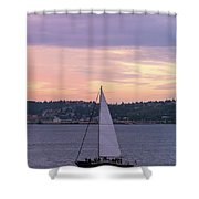 Sailing On Puget Sound At Sunset Shower Curtain