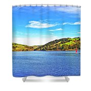 Sailing On San Pablo Dam Reservoir Shower Curtain