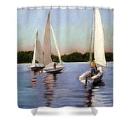 Sailing On The Charles Shower Curtain by Lenore Gaudet