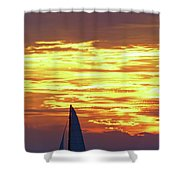 Sailing Past The Sunset Shower Curtain