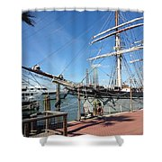 Sailing Ship At Galveston Shower Curtain