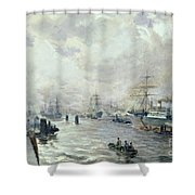 Sailing Ships In The Port Of Hamburg Shower Curtain