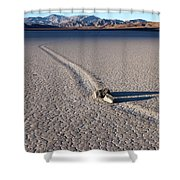 Sailing Stones Collide On The Racetrack Playa  Shower Curtain