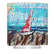Sailing The Coast Abstract Shower Curtain