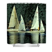 Sailing The Harbor Shower Curtain