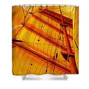Sailing Through Gold Shower Curtain