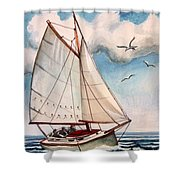 Sailing Through Open Waters Shower Curtain