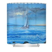 Sailing Through The Storm Shower Curtain