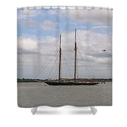 Sailing Under British Flag Shower Curtain