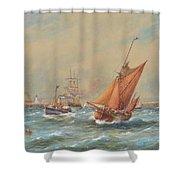 Sailing Vessels Off A Harbour Entrance Shower Curtain