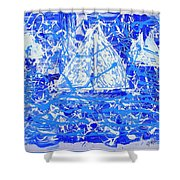 Sailing With Friends Shower Curtain