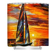 Sailing With The Sun - Palette Knife Oil Painting On Canvas By Leonid Afremov Shower Curtain