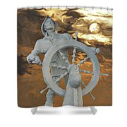 Sailor In Coming Storm Shower Curtain