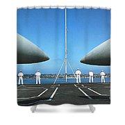 Sailors Aboard The Aircraft Carrier Uss Nimitz  Shower Curtain
