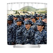 Sailors Yell Before An All-hands Call Shower Curtain by Stocktrek Images
