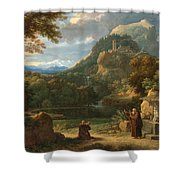 Saint Anthony Of Padua Introducing Two Novices To Friars In A Mountainous Landscape Shower Curtain