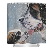 Saint Bernard Dad And Pup Shower Curtain