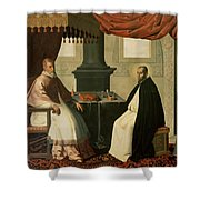 Saint Bruno And Pope Urban II Shower Curtain by Francisco de Zurbaran