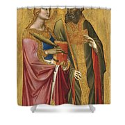 Saint Catherine And A Bishop Saint Possibly Saint Regulus Shower Curtain