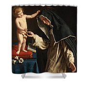 Saint Catherine Of Siena Receiving The Crown Of Thorns From The Christ Child Shower Curtain