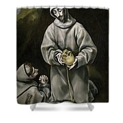 Saint Francis And Brother Leo Meditating On Death Shower Curtain