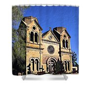 Saint Francis Cathedral Santa Fe Shower Curtain by Kurt Van Wagner