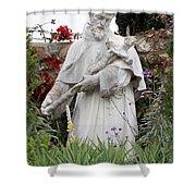 Saint Francis Statue In Carmel Mission Garden Shower Curtain