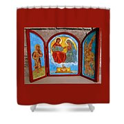 Saint Francis Tryptich Opened Shower Curtain